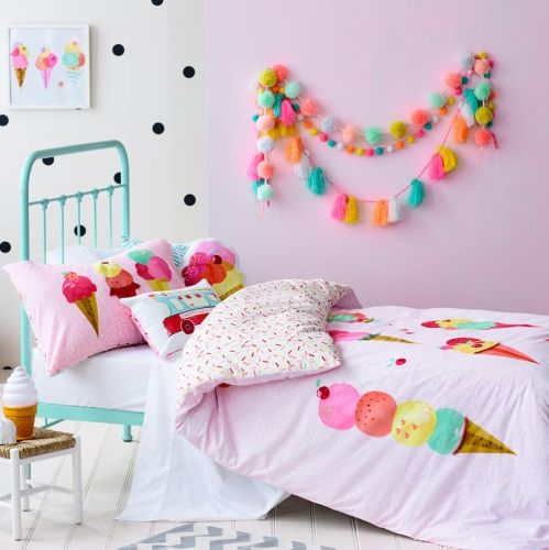 Covered in delicious ice creams and colourful sprinkles, this quilt cover set from Adairs Kids will be such a fun design for your little ones bedroom this summer. Added 3D embroidered and appliqué detail creates a unique textured look and adorable ice cream and ice cream truck cushions are also available in the Sprinkles range.