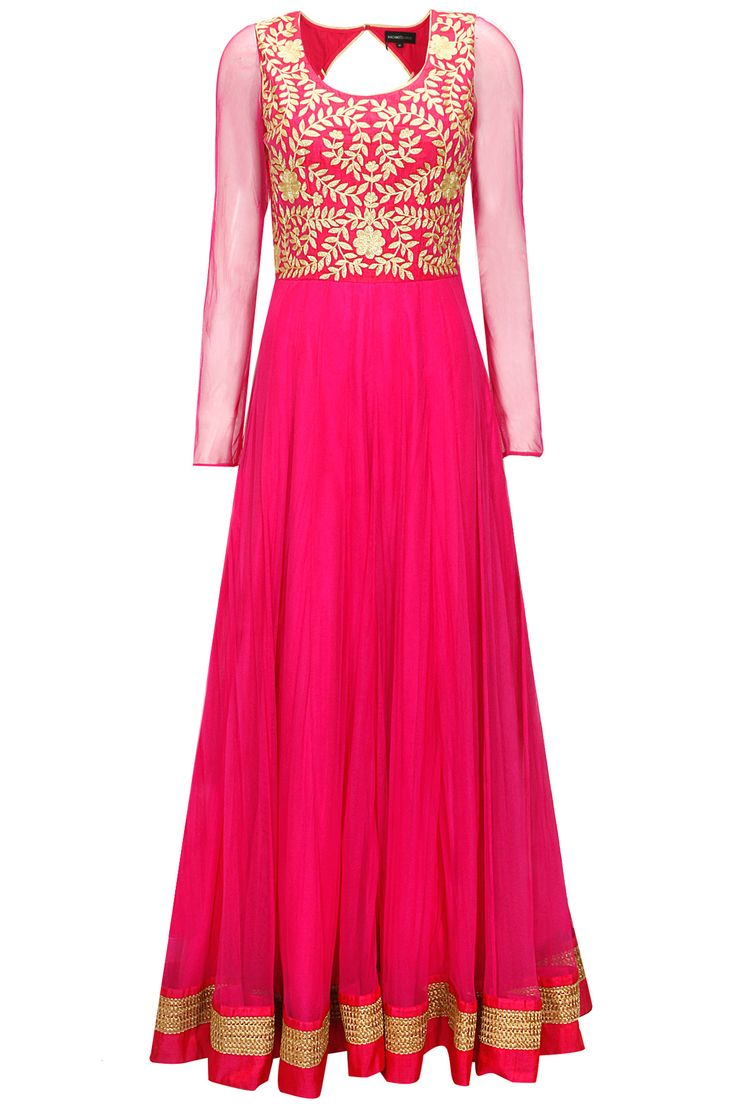 Pink floral embroidered anarkali gown with boond work dupatta by Nachiket Barve. Shop now: www.perniaspopups.... #anarkali #beautiful #designer #nachiketbarve #pretty #accessory #shopnow #perniaspopupshop #happyshopping