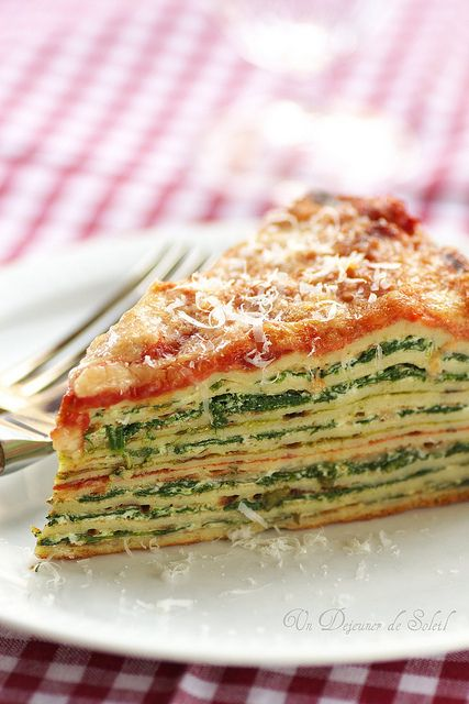 Crepe Lasagna with ricotta and spinach.