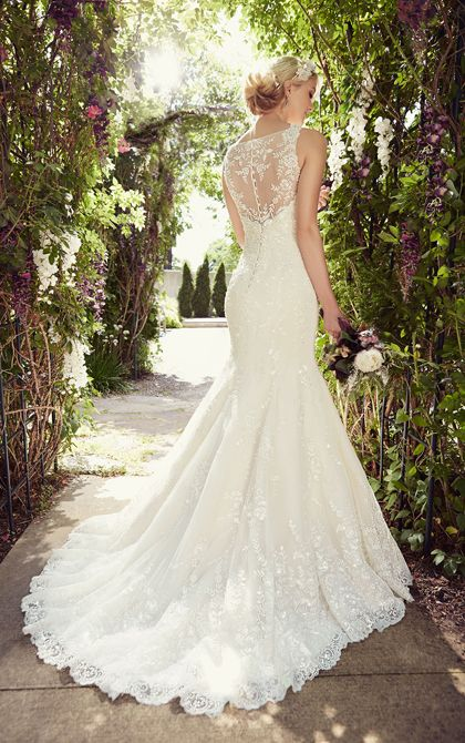 Vintage-inspired fit-and-flare organza illusion back wedding dress with a plunging V-neckline, Diamante accents, scalloped Lace hem and court train.