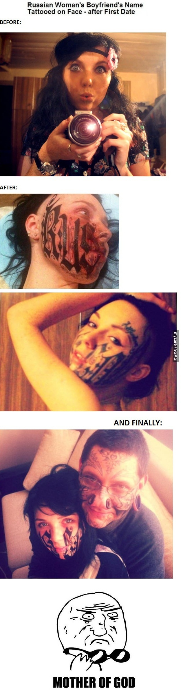 Boyfriend's Name Tattooed on Face... This is actually sad!! Why would she do this???