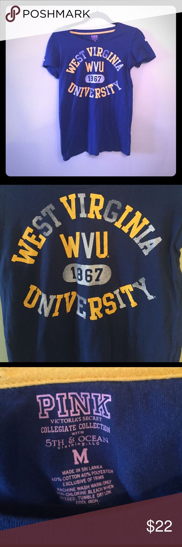 PINK WVU college shirt size M Collegiate collection from PINK. West Virginia University. Size medium Tops Tees - Short Sleeve