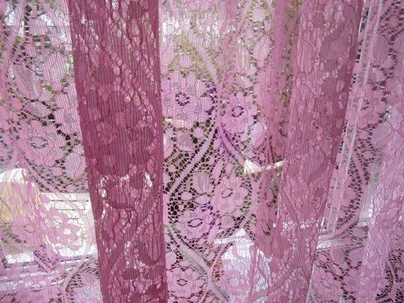 Vintage Net Sheer Curtains Set Of Two Soft Pink Floral 48 W X 62 L With Tiebacks Sheer Curtains Curtains Curtain Sets