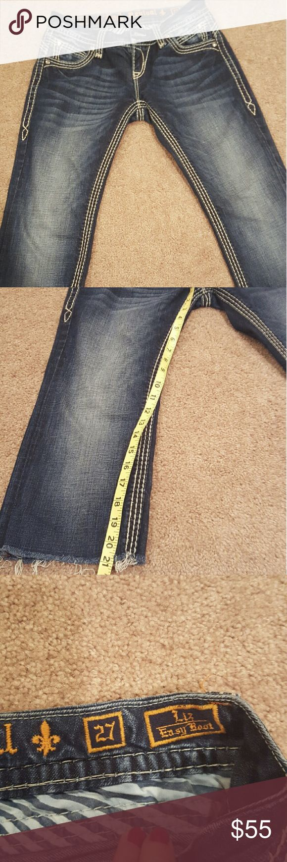 They are too small:( Rock revival EASY 27 Capri's. They were jeans but decided to cut them off to be able to fold and make either short capris or if you are tall Bermuda shorts. Wore a few times but in excellent condition. No missing stones. These don't have a lot of stretch so they hold their shape very well. Rock Revival Shorts Bermudas