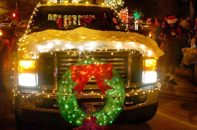 Pick-up truck in Christmas parade