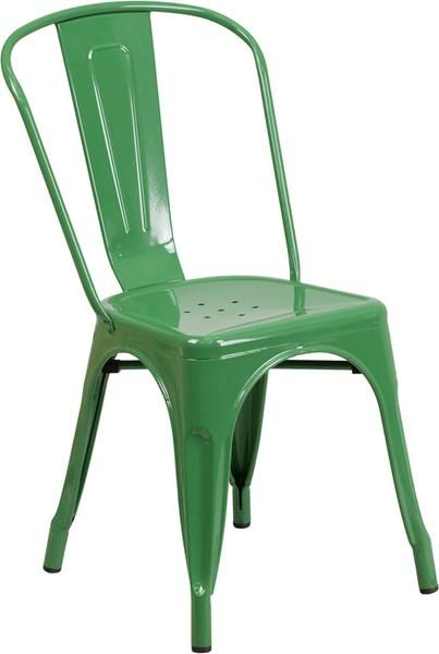 Flash Furniture  CH-31230-GN-GG Green Metal Indoor-Outdoor Stackable Chair Green