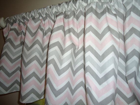 bella baby pink and grey chevron valance window by