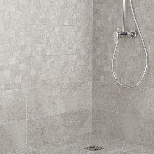 Carrelage mural vision artens en fa ence gris clair 25 x for Faience salle de bain gris clair