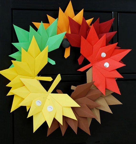 Осенний венок в технике оригами