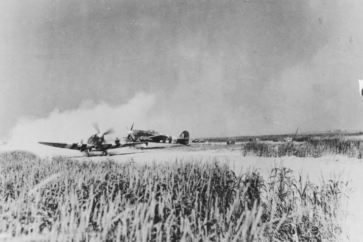 """Fighter """"Spitfire» Mk.IX and fighter-bomber """"Typhoon» Mk.IB RAF airfield in Normandy"""