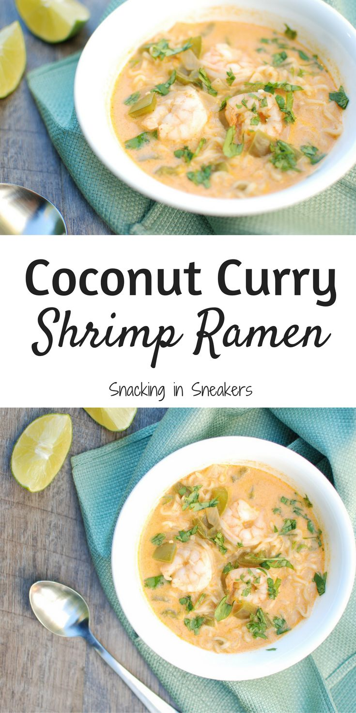 This coconut curry shrimp ramen bowl recipe screams cool weather comfort food.  And this healthy dinner still clocks in at under 450 calories per serving, includes 19 grams of protein, and is done in under 30 minutes!