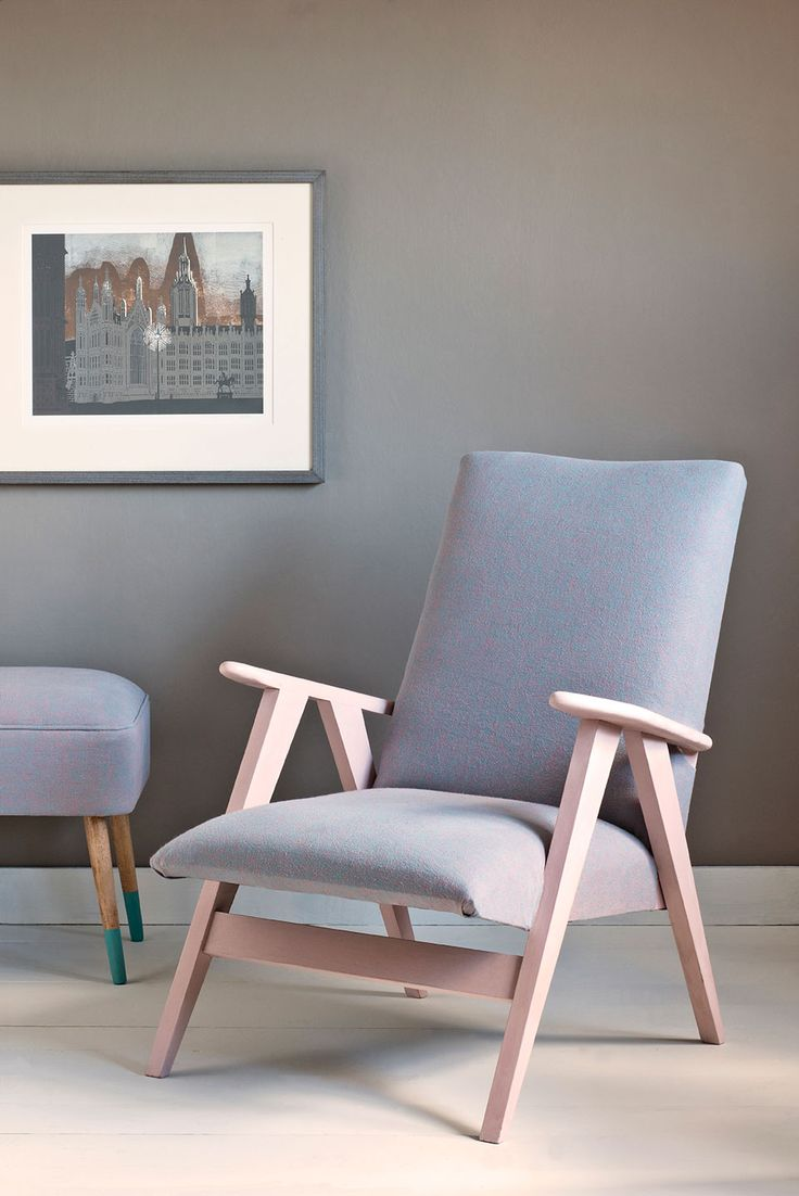 Antoinette painted on this mid century modern chair upholstered in Scandinavian Pink & Provence Annie Sloan Coloured Linen. Against a wall of French Linen Wall Paint.