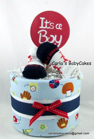 Mini diaper cake  Boy diaper cake  Sports by MsCarlasBabyCakes