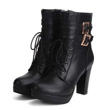 SaraIris Size 34-43 Female Ankle Boots Lace Up Thick High Heel Shoes Buckle Platform Rubber Sole Shoes Autumn Winter Boots(China (Mainland))
