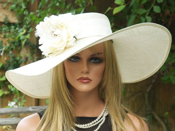 Hey, I found this really awesome Etsy listing at https://www.etsy.com/listing/207674811/cream-wide-brim-hat-wedding-hat-kentucky