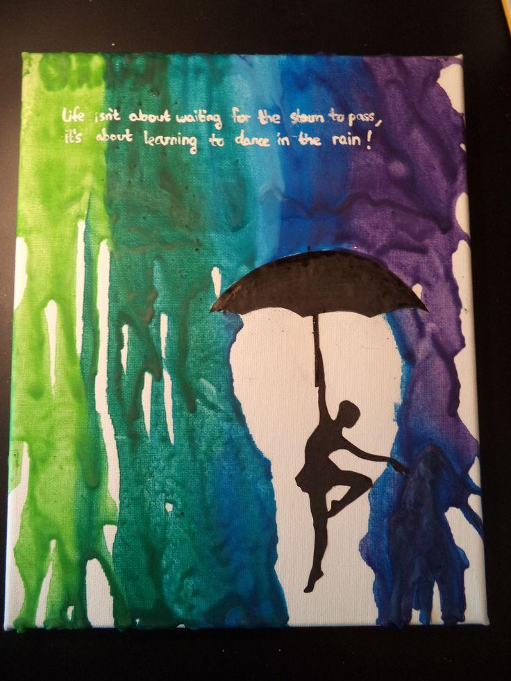 Melted Crayon Art dancer with umbrella