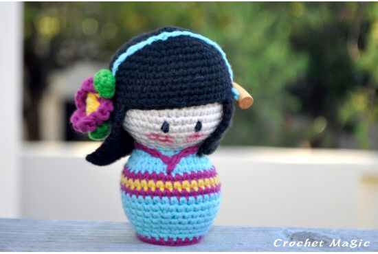 Kokeshi is best in the form of crochet, bringing luck to its receivers as well.   Order online at http://crochetmagic.com.au/amigurumi/japanese-cartoon/japanese-kokeshi-with-black-hair-in-blue-kimono  Free shipping to Australia for orders over A$70 and worldwide for orders A$150