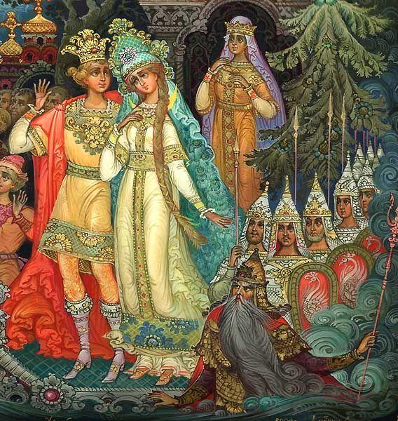 """""""Сказка о царе Салтане"""", Пушкин А.С. http://russkaja-skazka.ru/skazka-o-care-saltane-pushkin/ Князь царевну обнимает, к белой груди прижимает и ведет ее скорей к милой матушке своей. Князь ей в ноги, умоляя: «Государыня-родная! Выбрал я жену себе, дочь послушную тебе. Просим оба разрешенья, твоего благословенья: Ты детей благослови жить в совете и любви».  #сказки #картинки   #art #Russia #Россия #добро #дети  #иллюстрации #paint #картины #художник  #RussianFairyTales @russkajaskazka"""