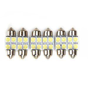 Rupse 6* 27mm/28mm 4-SMD LED 5050 Festoon Lampe Intérieur de Voiture Lampe de Porte/Lecture Ampoule Auto Blanc: Description : Modèle: 27mm…
