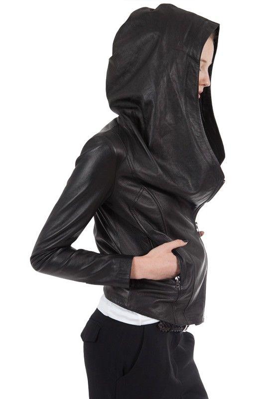 Leather jacket with sweatshirt hood