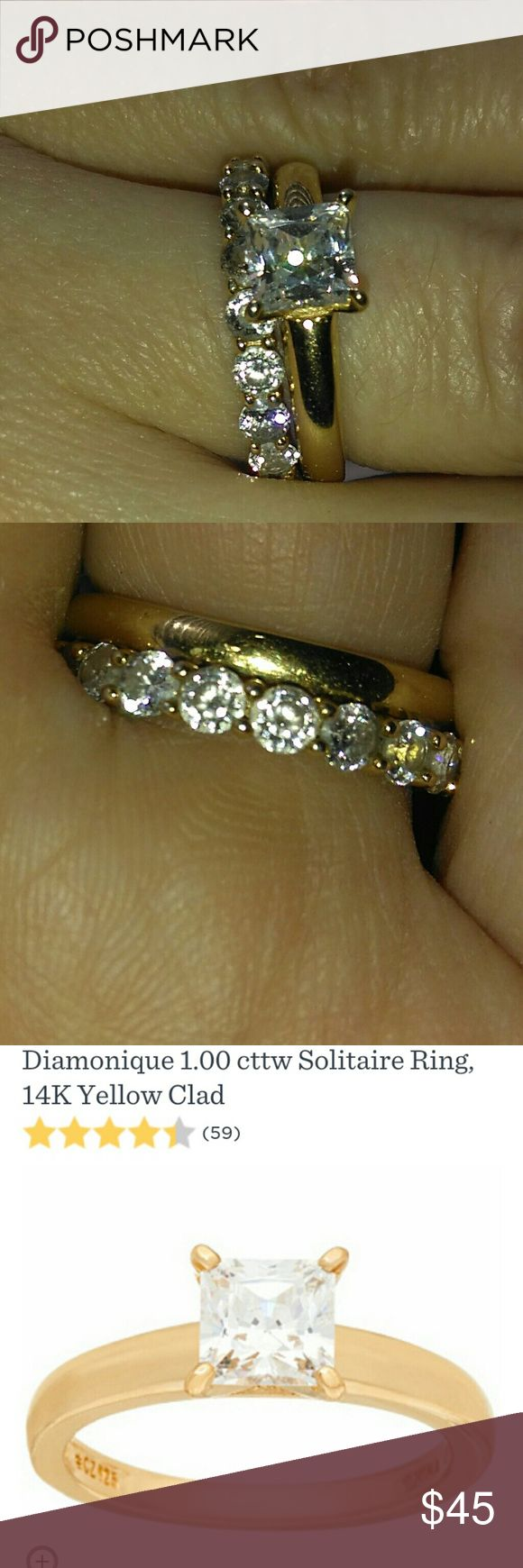 Diamonique Eternity/ Solitaire 14k Gold Clad Rings Pre-owned. Bought February 2017 to replace my lost engagement ring. I am selling because my husband bought me an anniversary ring last November and I haven't worn this set since. Please note: Both are 14k Gold Clad. I never wore in or near water and kept in jewelry bag to prevent turning or damaging. For additional info QVC has great infomercials. Please see photos for complete description. A box, jewelry bag, and authenticity paper will be…