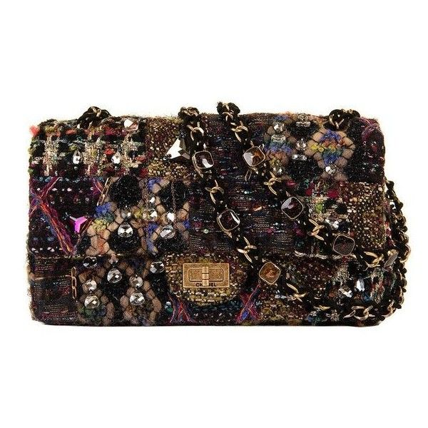 A Very Rare Chanel 'Sac 2.55' Multicoloured Tweed Bejewelled Flap Bag ❤ liked on Polyvore featuring bags, handbags, shoulder bags, chanel shoulder bag, multi color handbag, flap bag, chanel purse and multi color purse