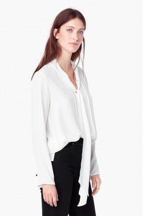 Mango - Bluzka biała z wąskim szaliczkiem Lusi