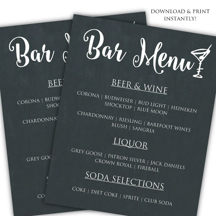 Printable DIY Bar Menu Template for $6.50 #onselz