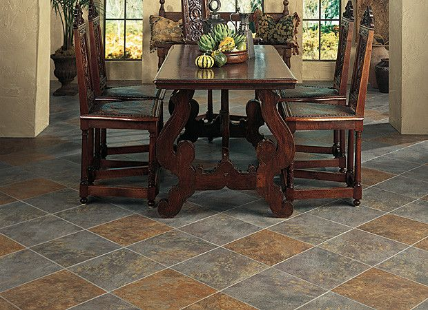 Gray and tan dining room tile flooring