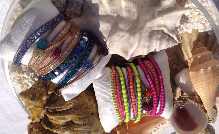 Wrap bracelets, beads, sawarovski , leather, cristals, turquaise, coral, mother of perl, shambala, neon, beach, fun, summer, bangles, shine, jewellery
