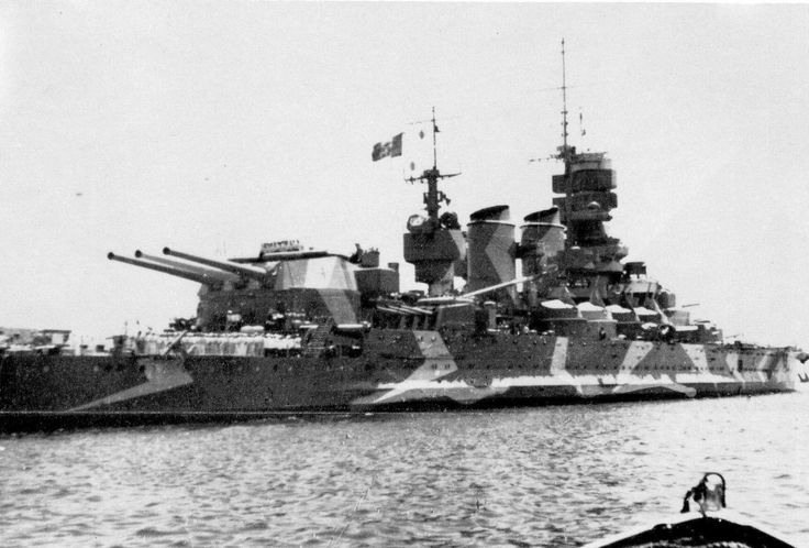 15 in Littorio class battleship Vittorio Veneto at Taranto in 1941 shortly after the Cape Matapan defeat, when as Italian flagship she was badly damaged by a British aerial torpedo. The prominent stern turret is particularly evident: a feature of these 3 ships, Italy's most modern battleships of WW2.