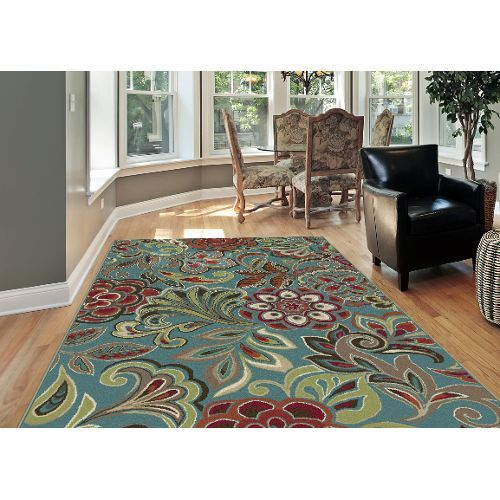 8 X 10 Large Teal Blue Ivory Red Area Rug