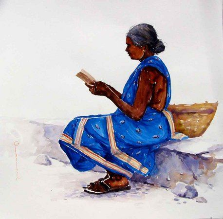 Siva Balan - Saleswoman   Indian watercolors art