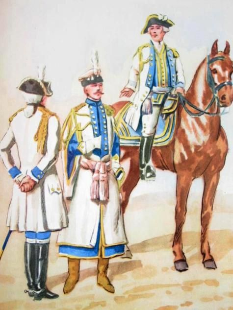 From left to right: General royal aide from 1768., Adjutant general of 1778., Adjutant General from 1768. Fig. B. Gembarzewski.