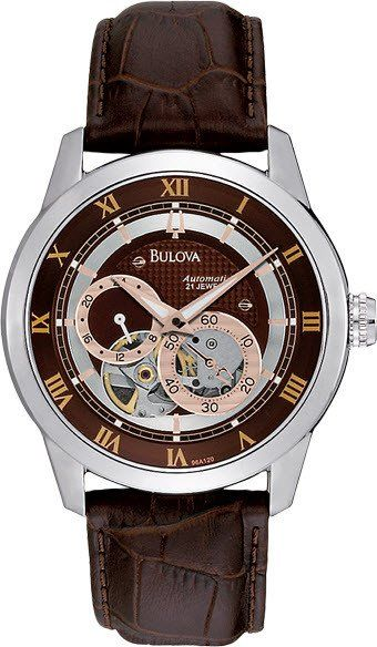 @bulova Watch Open Aperture Automatic #bezel-fixed #bracelet-strap-leather #brand-bulova #bulova-core-line #case-depth-11-2mm #case-material-steel #case-width-42mm #delivery-timescale-4-7-days #dial-colour-brown #fashion #gender-mens #movement-automatic #official-stockist-for-bulova-watches #packaging-bulova-watch-packaging #style-dress #subcat-mechanical #supplier-model-no-96a120 #warranty-bulova-official-3-year-guarantee #water-resistant-30m