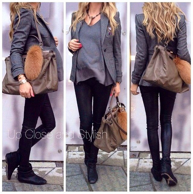 Cool maternity style. Grey top and blazer. Black leggings