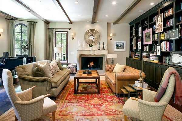 Reese Witherspoon's House in Brentwood | hookedonhouses.net lounge colour pallete? less wishy washy though