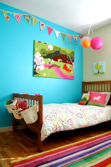 Love this girls room. Just bought metre's of this ikea fabric!!!!