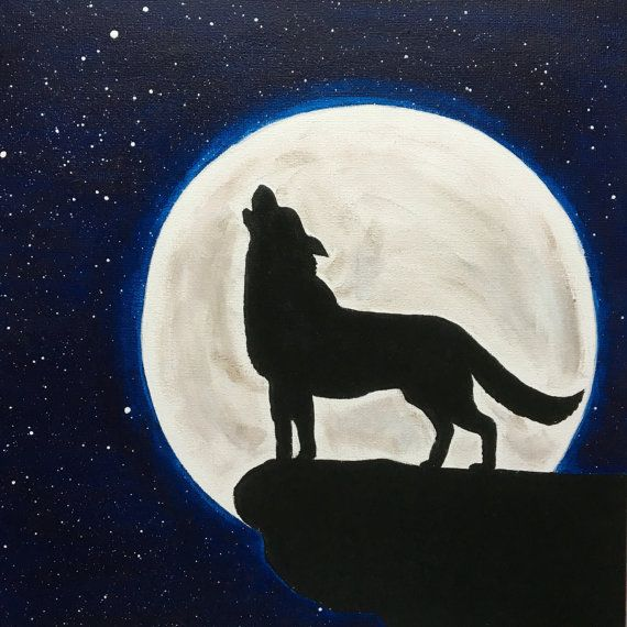 Wolf Howling At The Moon Painting Wolf Silhouette Moon Stars