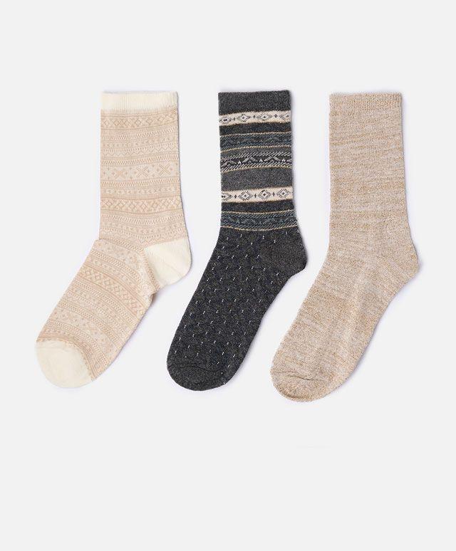 3-pack of regular jacquard socks - OYSHO