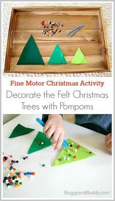 Fine Motor Christmas Activities: Decorate the Felt Christmas Trees~ BuggyandBuddy.com