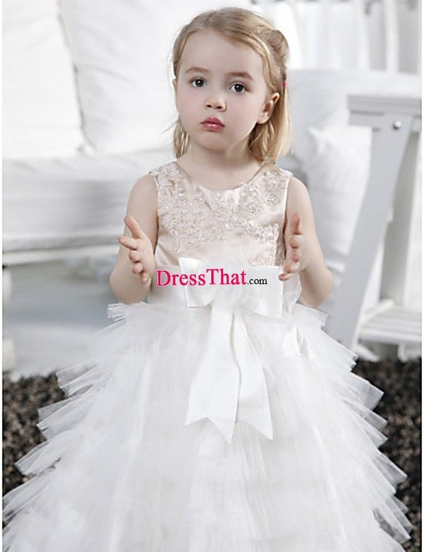 Satin Tulle Long Tiered Bow Beaded Appliques Flower Girl Dress, Satin Tulle Long Tiered Bow Beaded Appliques Flower Girl Dress, Satin Tulle Long Tiered Bow Beaded Appliques Flower Girl Dress