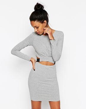 ASOS Cross Front Long Sleeve Mini Body-Conscious Dress