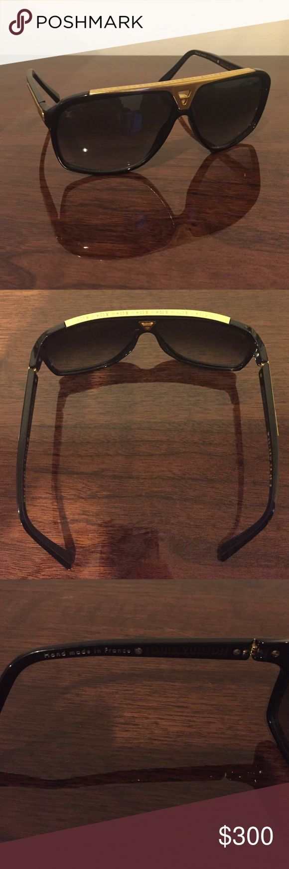 Louis Vuitton Evidence Sunglasses 100% Authentic Louis Vuitton Evidence Sunglasses. Paid $675+tax at Louis Vuitton store. Beautiful black & gold color. In good condition. A little scratched up and gold hardware is a little bent but still wearable and looks great on! No trades. Louis Vuitton Accessories Sunglasses