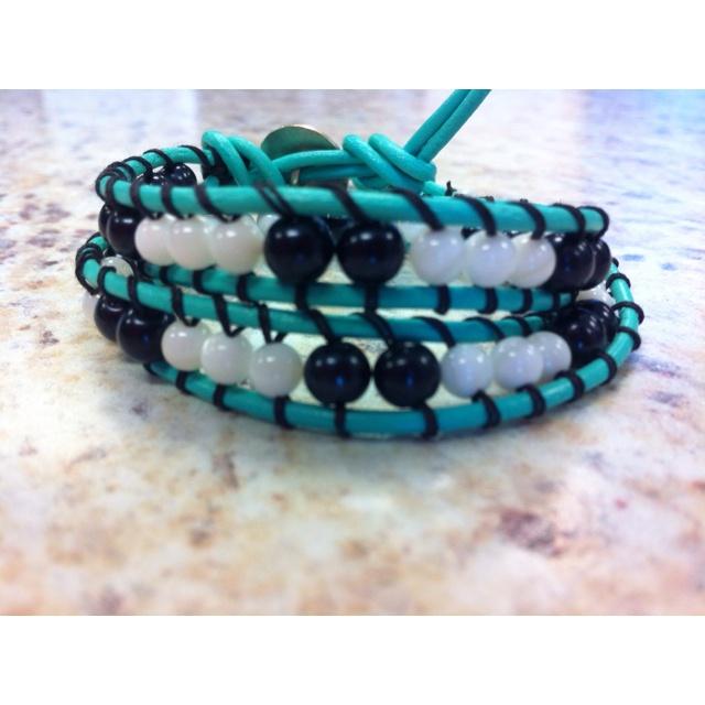 Double wrap bracelet on mint leather.: Double Wraps, Bracelets Design, Wraps Bracelets, Wrap Bracelets