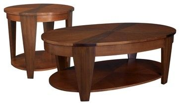 Hammary Oasis 2-Piece Oval Coffee Table Set - traditional - coffee tables - Hayneedle