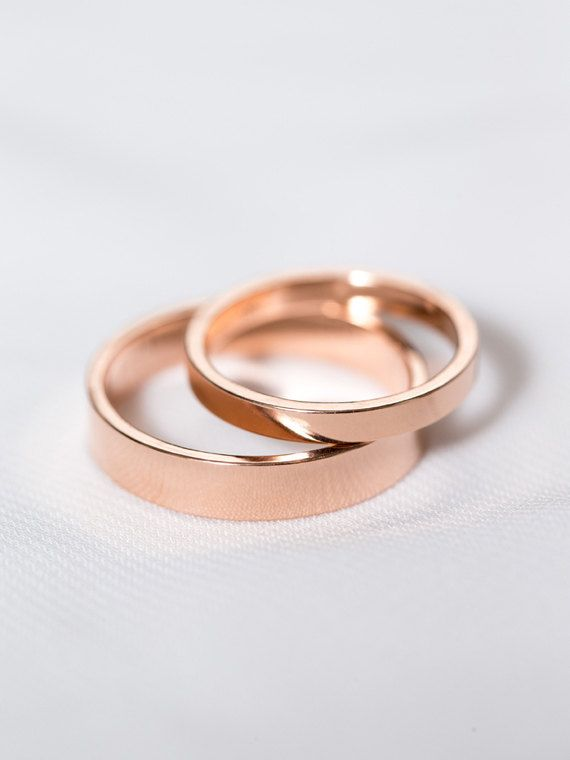 14k Rose Gold His Hers Rings Wedding By DavieandChiyo