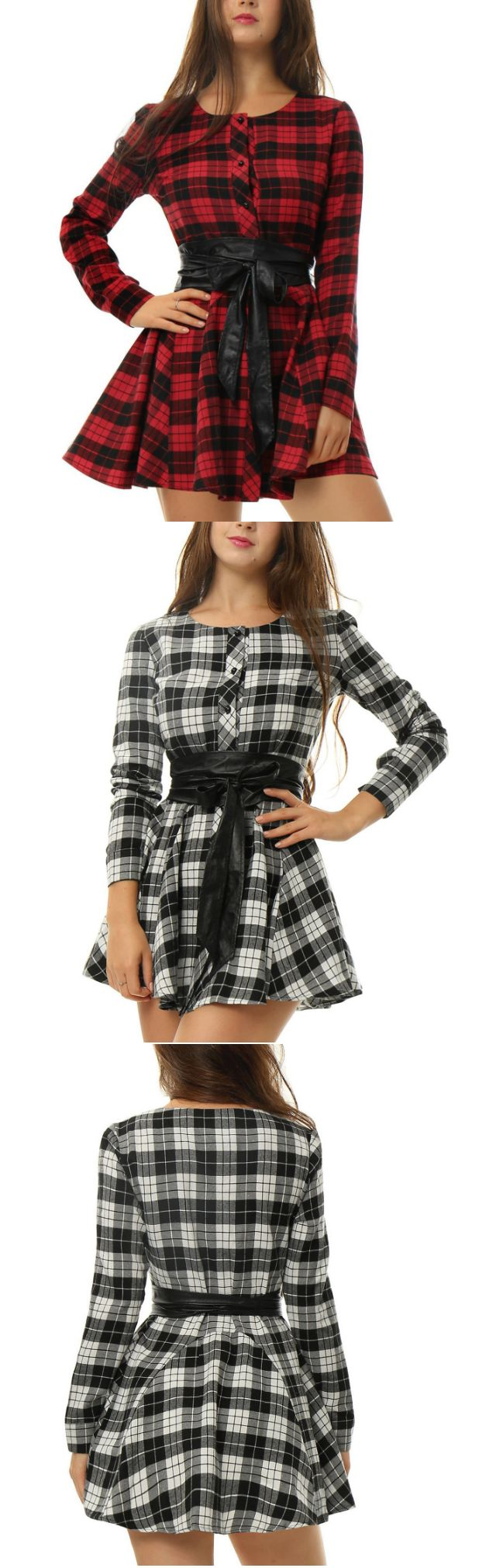 2016 Autumn Dresses Women Plaid Check Print Sprin Dress Wholesale Long Sleeve Shirt With Belt