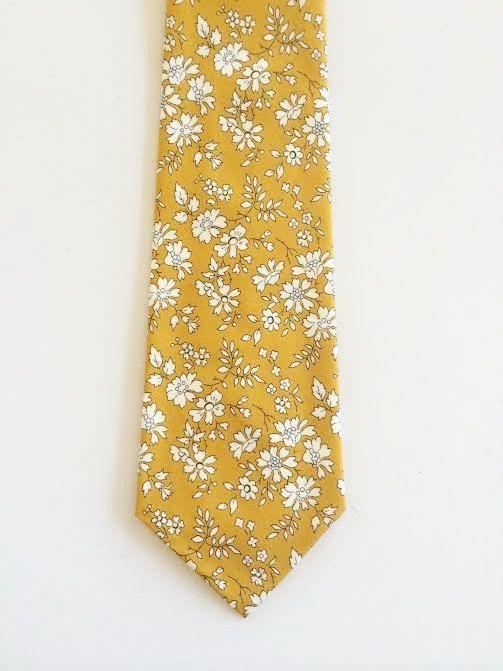 Liberty of London Print Tie, custom yellow tie,  yellow skinny tie, mustard tie, custom wedding necktie, mustard floral tie by staghandmade on Etsy https://www.etsy.com/listing/253003689/liberty-of-london-print-tie-custom
