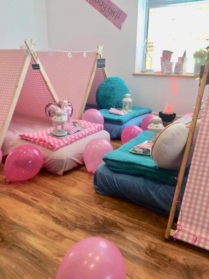 Teal And Pink Sleepover Party Indoor Camps Set Up In Your Home From Just 99 Find Out More At Www Sleepunder Co Uk Sleepover Sleepover Party Camping Set Up